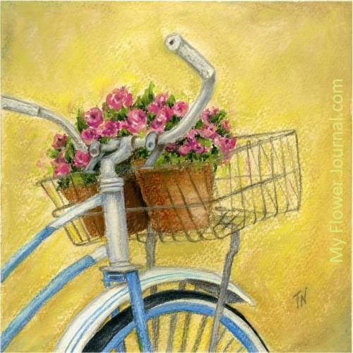 Flower Art: Bike With Basket of Flowers Original Art-myflowerjournal.com