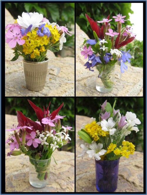 Photo Tutorial to make a Mini Bouquet with a thimble vase for your Garden Fairy. They would also make a cute favor for a tea party or shower.--myflowerjournal.com