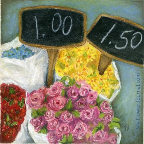 NYC Flower Market Original Painting-My Flower Journal