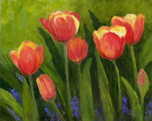 Flower Art: Palette knife Tulips oil painting from the Thanksgiving Point Tulip Festival-myflowerjournal.com