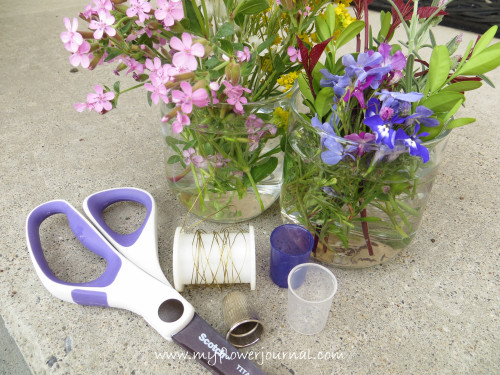 Supplies to make a mini bouquet in a thimble or cap-myflowerjournal.com