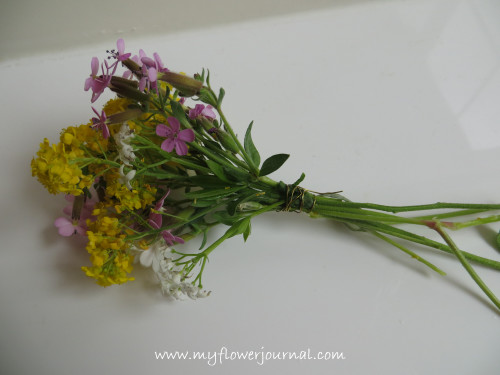 how to make a mini bouquet with a thimble vase -wrap stems with wire-myflowerjournal.com