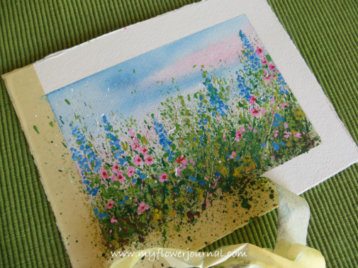 After the paint is dry you can remove the masking tape and see your finished splattered paint flower garden-my flower journal