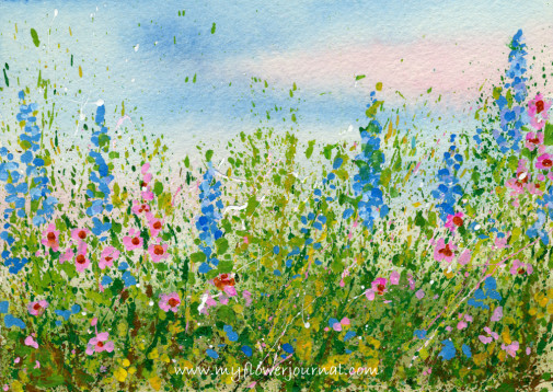 Create a splattered paint flower garden-no drawing required-myflowerjournal.com (2)