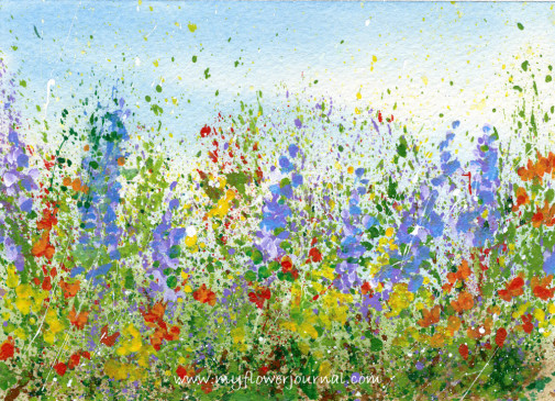 Create a splattered paint flower garden-no drawing required-myflowerjournal.com (3)