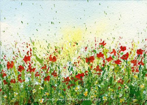Create a splattered paint flower garden-no drawing required-myflowerjournal.com