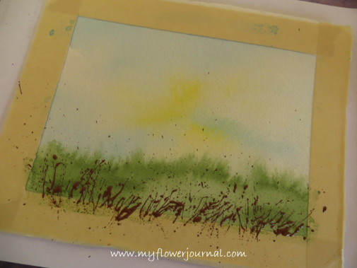First layer of splattered paint for splatterd paint flower garden-myflowerjournal (1)