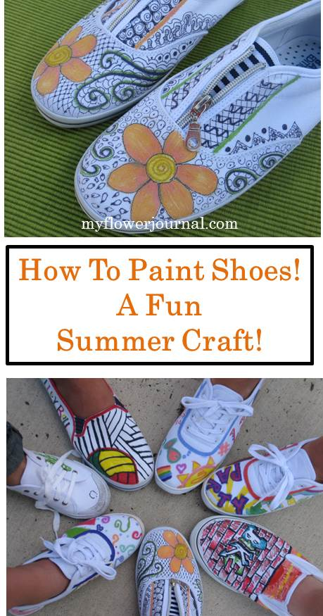 Painted Shoes! This would be such a fun thing to do with my kids and their cousins this summer-myflowerjournal