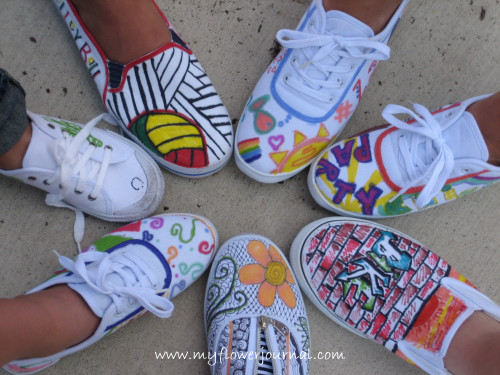 White canvas shoes painted with sharpies: a fun summer craft for all ages-myflowerjournal.com
