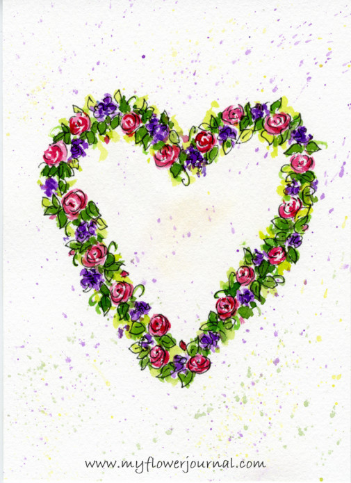 How to Paint A Simple Watercolor Flower Wreath Painting-myflowerjournal.com