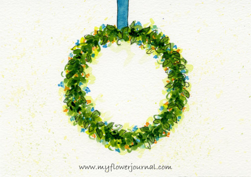 Round Watercolor Flower Wreath Painting-myflowerjournal.com