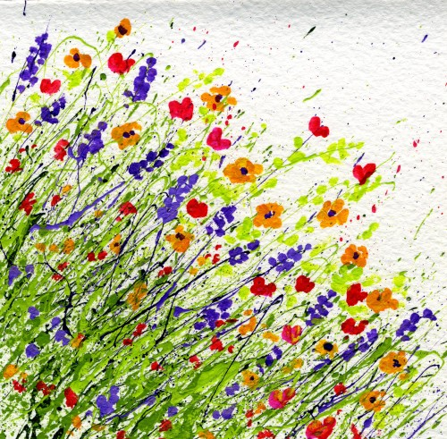 How to make splattered paint flower cards my flower journal for Easy watercolour projects