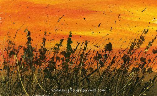 Splattered Paint Flower Art Tips and Ideas-Sunset Painting-myflowerjournal.com