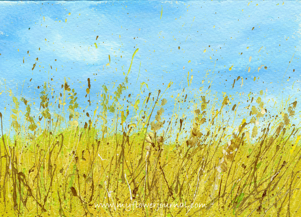 Splattered Paint Flower Art Ideas-Wheat Field-myflowerjournal.com