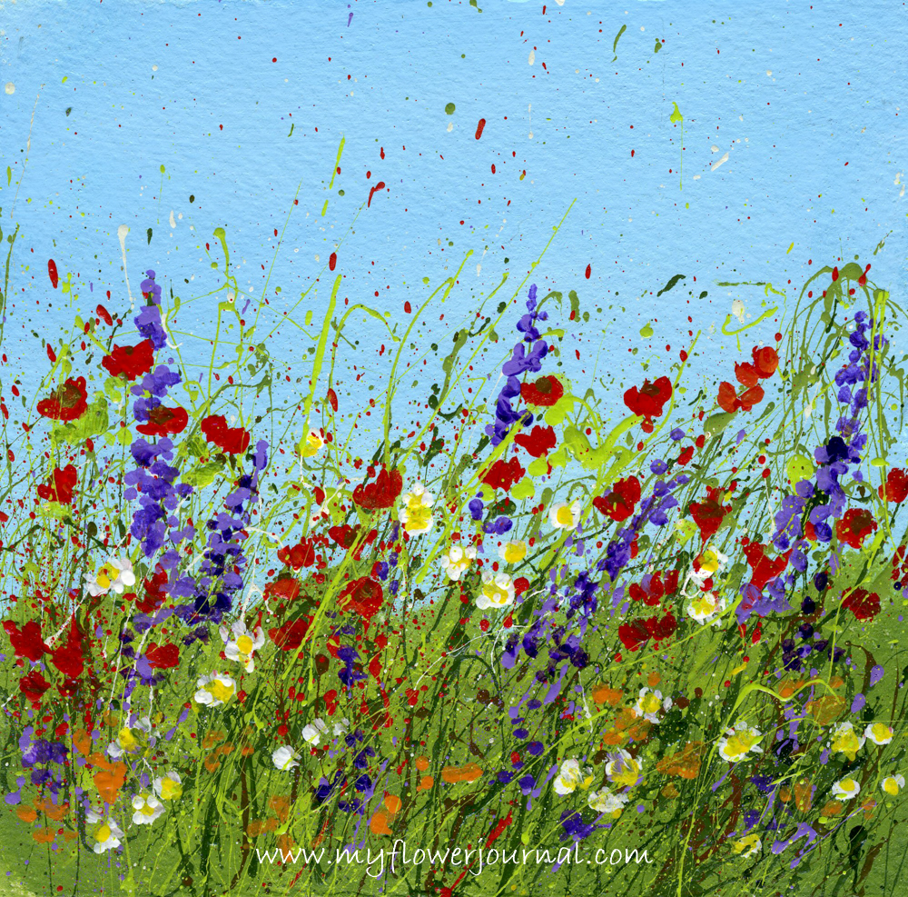 More splattered paint art ideas and tips my flower journal for Flower paintings on canvas