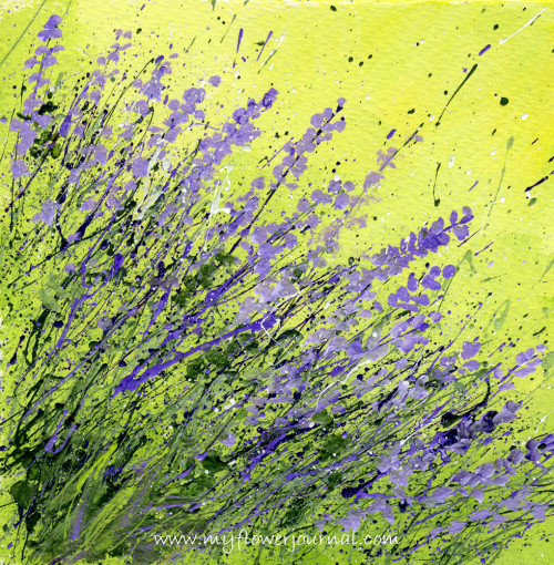 Splattered Paint Flower Art- Lavender Flowers-myflowerjournal.com