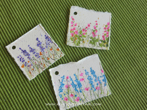 Splattered Paint Flower Garden gift tags-myflowerjournal