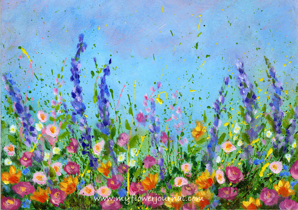 Splattered Paint Flower Garden-no drawing needed-myflowerjournal.com