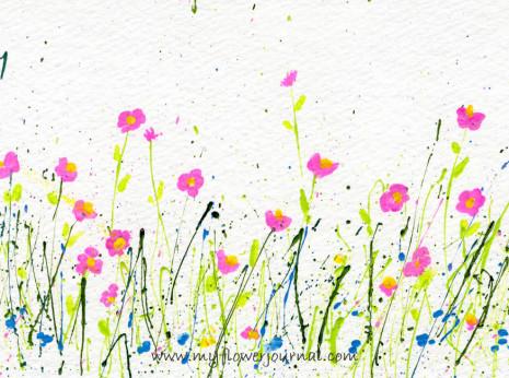 Splattered Paint Flowers postcard-myflowerjournal