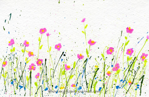 Tips for Splattered Paint Flower Art postcard-myflowerjournal.com