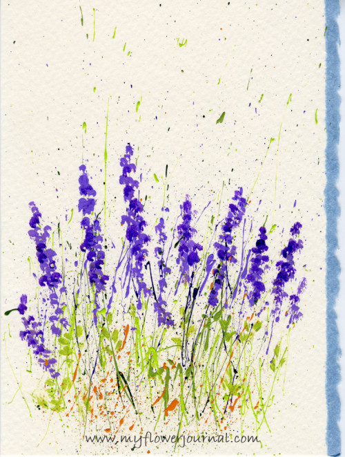 Tips for Splattered Paint Lavender Flowers Card-myflowerjournal.om