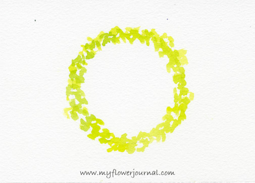 Step one-Simple Watercolor Flower Wreath Painting-myflowerjournal.com
