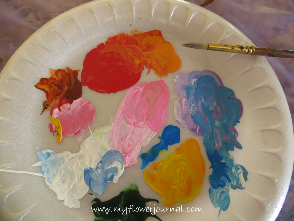 Create a splattered paint flower garden my flower journal for How to paint on paper with acrylic paints