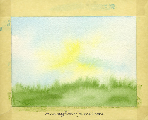 Watercolor background on 300 lb paper for splattered paint flower garden-3-myflowerjournal.com