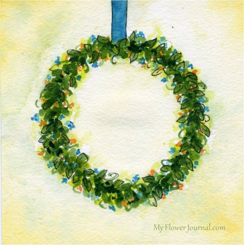 Watercolor Flower Wreath-myflowerjournal.com