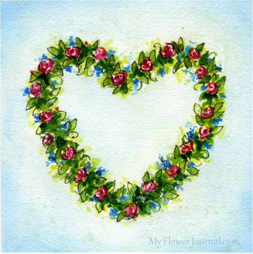 Tips and ideas on How to Paint a Simple Watercolor Flower Art-Wreath-myflowerjournal.com