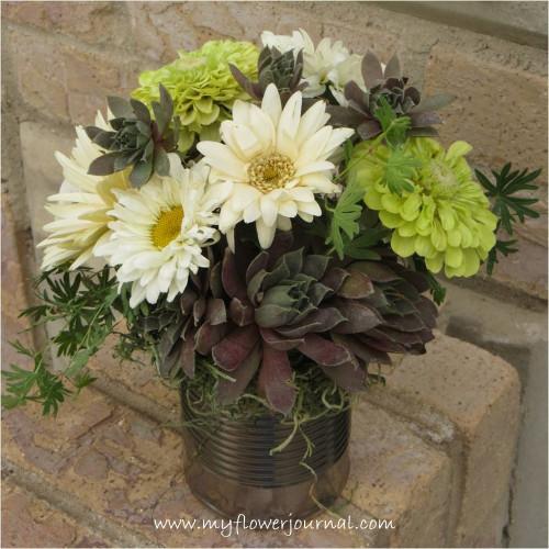 Hen and Chick,Succulent and Garden Flower Bouquet-myflowerjournal.com