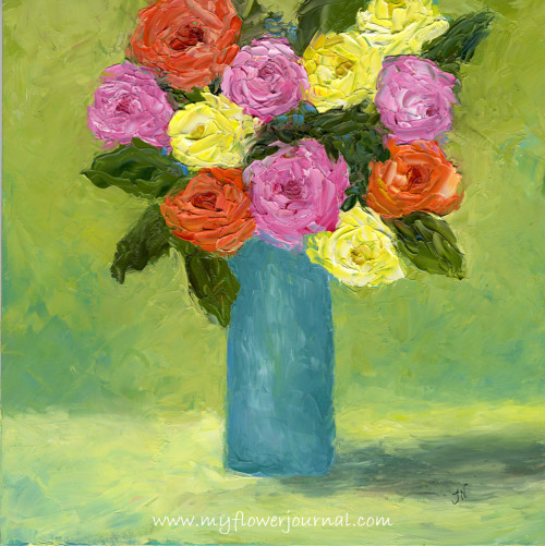 My Flower Art-Palette Knife oil painting-myflowerjournal.com
