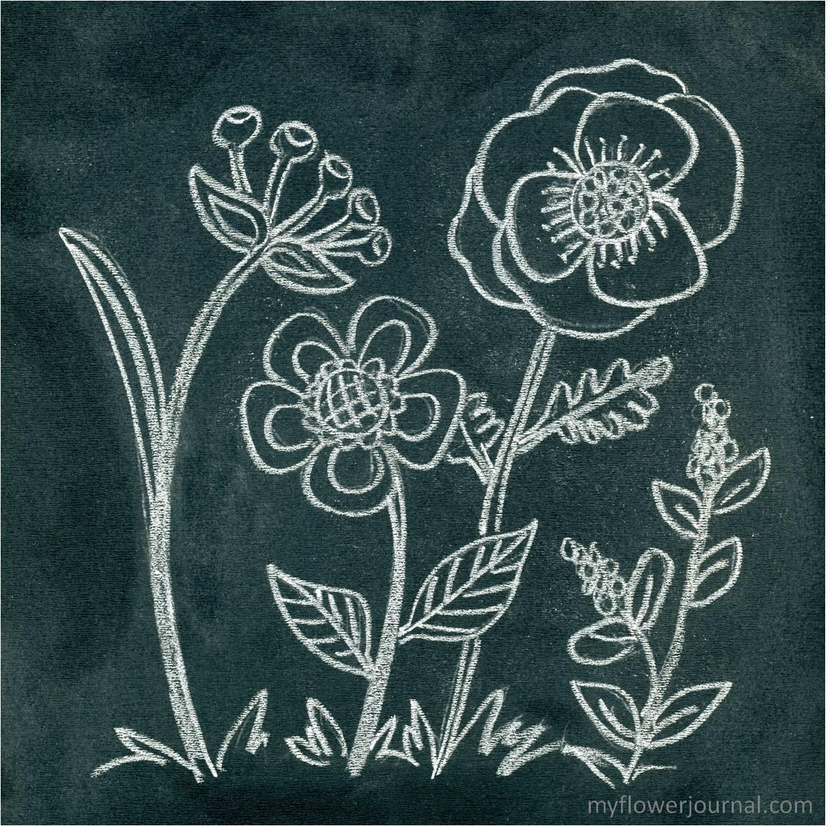 Blackboard Artwork Ideas: Anthropologie Inspired Flower Chalk Art
