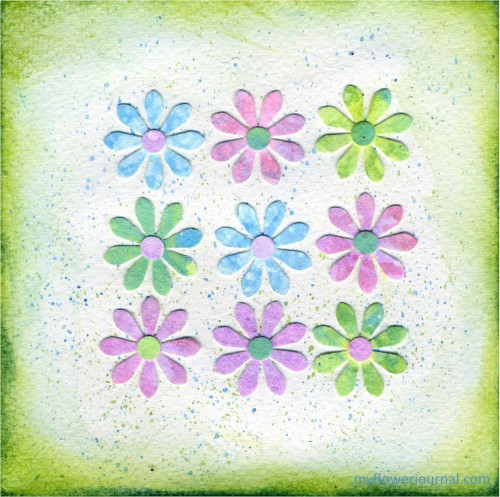 How To Do Bubble Painting Flower Art-Punch shapes out of paper covered with bubble painting-myflowerjournal.com