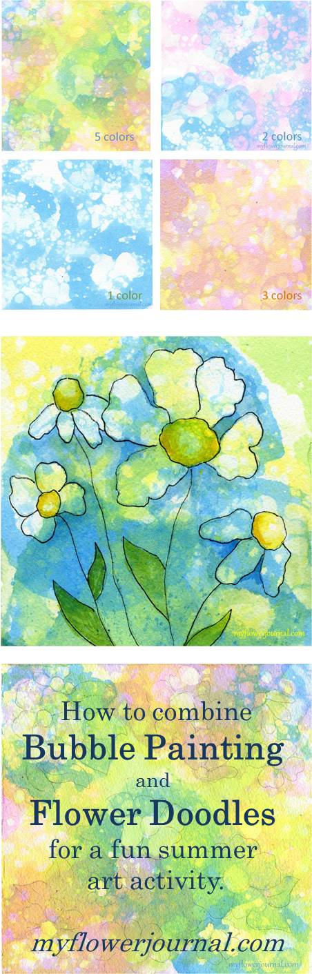 Bubble Painting Flower Art! What a fun, creative activity to do with my children-myflowerjournal