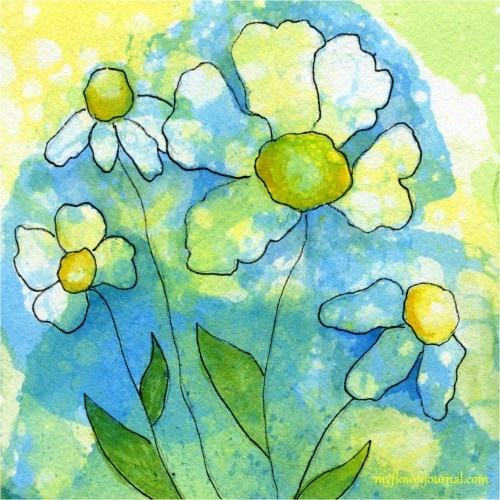 How to do Bubble Painting to create Watercolor flower art and backgrounds for journal pages, gift cards and more-myflowerjournal.com