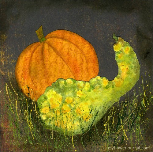 Fall Botanical Bubble Art Tutorial-squash, pumpkin and splatter painting-myflowerjournal