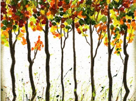Fall Foliage Art Ideas-A Grove of Trees with Splattered Paint Grass-myflowerjournal.com
