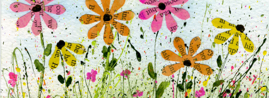 Flower Art Using Old Book Pages and Splatterd Paint-myflowerjournal.com