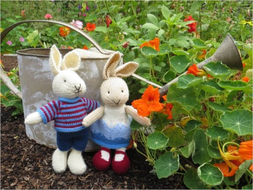 Little Knit Bunnies In the Garden-Julie Williams Little Cotton Rabbits Pattern-myflowerjournal