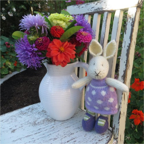Little Knit Bunny in the garden with a Late Summer Bouquet-Little Cotton Rabbits Pattern-myflowerjournal