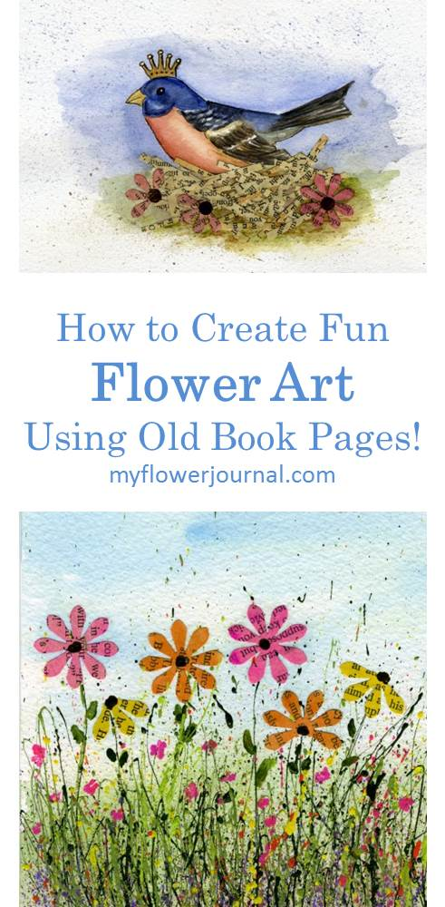 Such great ideas on how to create flower art using old book pages and splattered acrylic paint from myflowerjournal