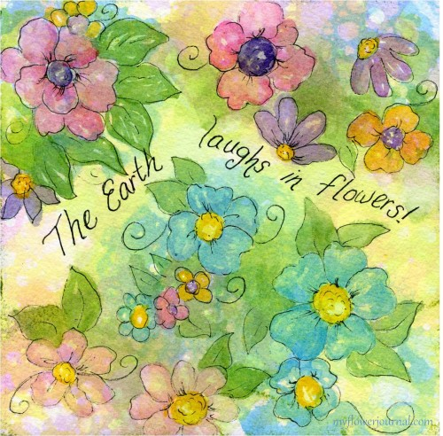 Tutorial showing how to do Watercolor Flower Art on Bubble Painting Background-myflowerjournal.com