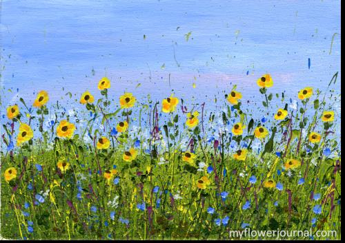 Splatter Painting-Sunflowers-myflowerjournal.com