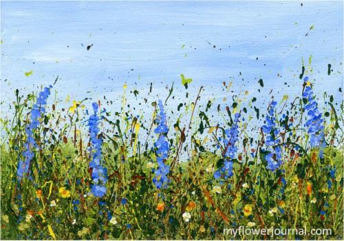 acrylic splattered paint wild flowers-myflowerjournal.com