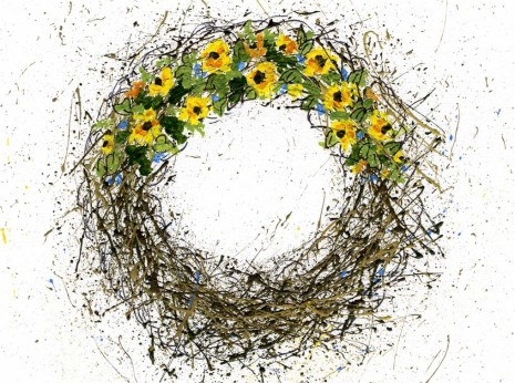 How to paint a sunflower grapevine wreath-no drawing needed-myflowerjournal