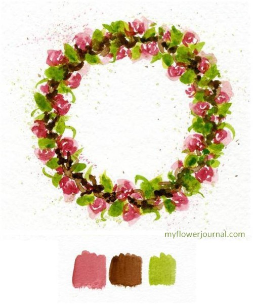 How to paint a watercolor wreath with roses using color swatches.-myflowerjournal