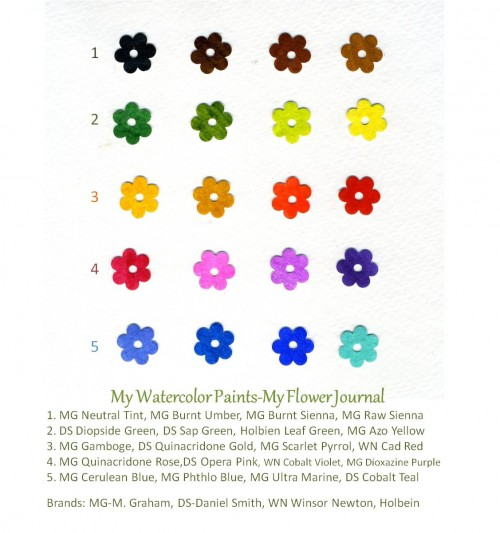 My Watercolor Paint Colors-myflowerjournal