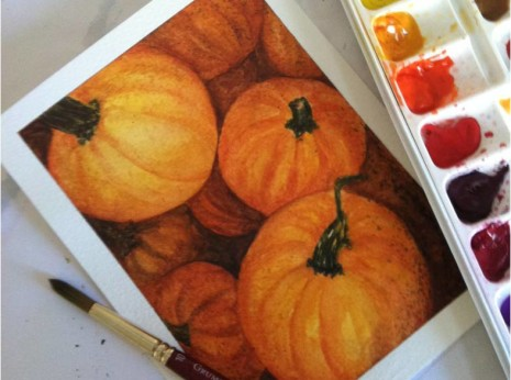 Painting Fall Pumpkins in Watercolor