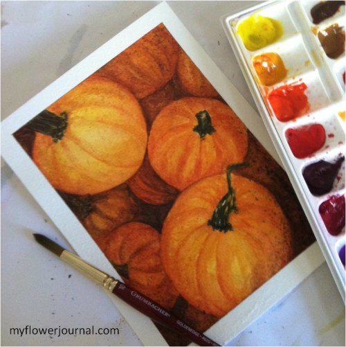 Painting Fall Pumpkins in Watercolor-myflowerjournal.com